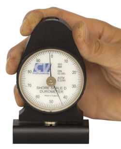 Handheld durometer for soft materials